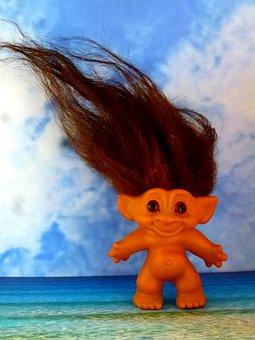 Troll, Seaside, Clouds, Toy, Cute, Hair, Coast