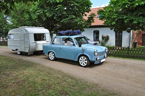Satellite, Caravan, Auto, Trabbi, Oldtimer
