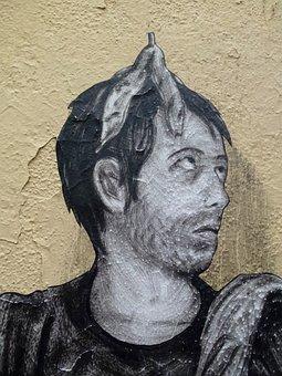Wall, Street Art, Black, Urban, Graffiti, Grunge