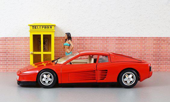 Model Car, Ferrari, Testarossa, Sporty, Red, Vehicle