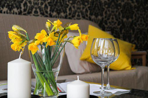 Apartment, Flowers, Daffodils, Room, House