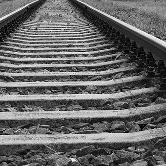Track, Railway, Ties, Black And White