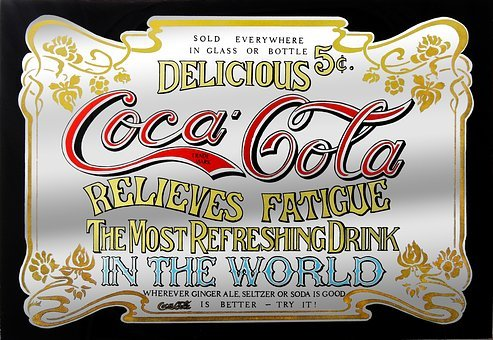 Advertisement, Coca Cola, Cola, Coke, Mirror, Old