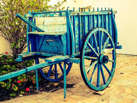 Wagon, Blue, Wheel, Old, Antique, Rustic, Countryside