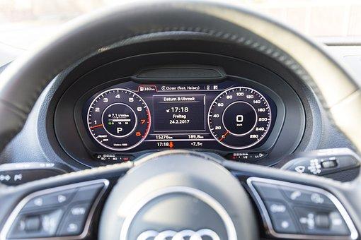 Auto, Audi, Steering Wheel, Speedo, Display, Monitor