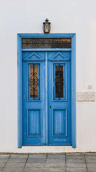 Door, Wooden, Blue, Entrance, White, Wall, House, Old