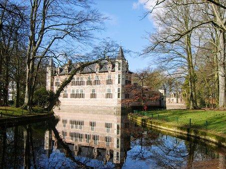 Castle, Ekeren, Antwerp, Field Wijck, Belgium, Water