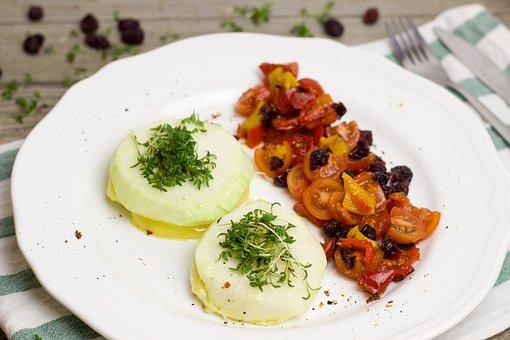 Kohlrabi, Cheese, Filled, Tomatoes, Salad, Cress, Herbs