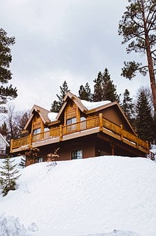 Log Cabin, House, Chalet, Home, Landscape, Winter, Snow