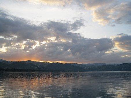Sunrise Over Lake, Lake Water, Kivu, Africa, Dawn