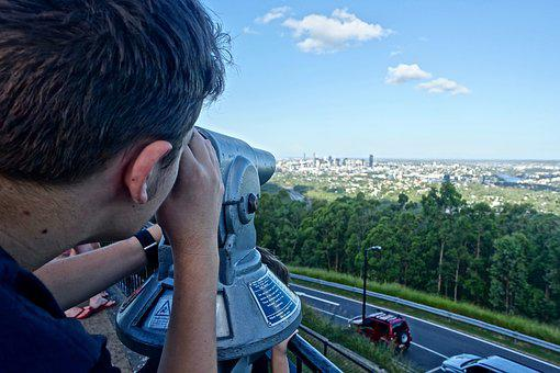 View, City, Brisbane, Binoculars, Distant, Landscape