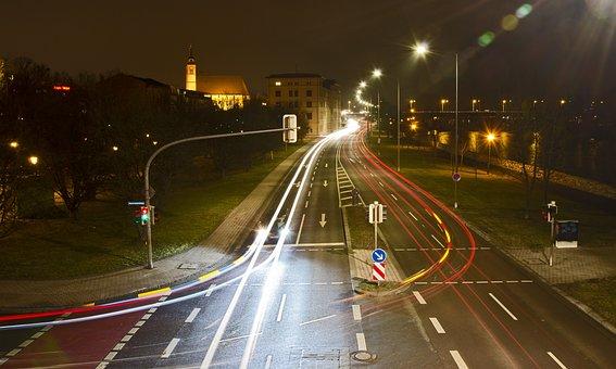 Night Photograph, Light Strips, Road, Schleinufer