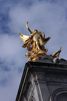 London, Queen, Statue, Gold, Angel, Ali, Monument