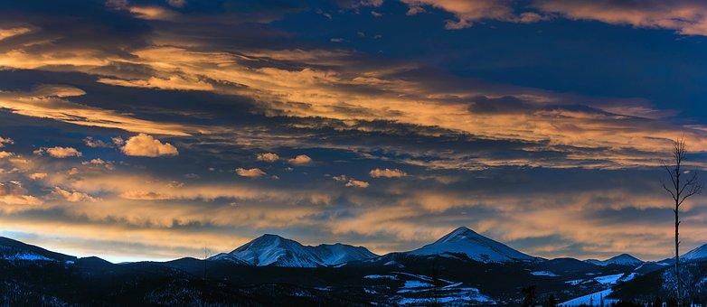 Sunset, Dusk, Panorama, Colorado, Mountains, Rockies