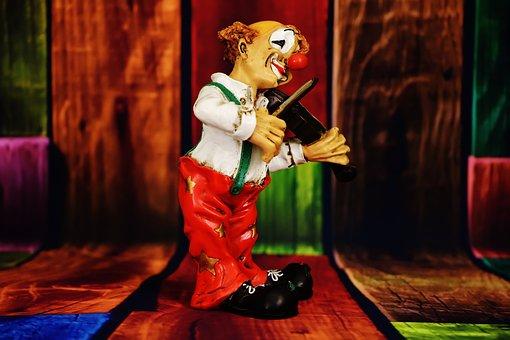 Clown, Figure, Funny, Violin, Play, Cheerful, Music