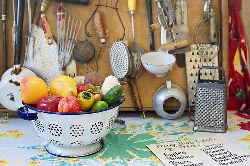 Retro, Vintage, Kitchen, Utensils, Vegetables, Antique
