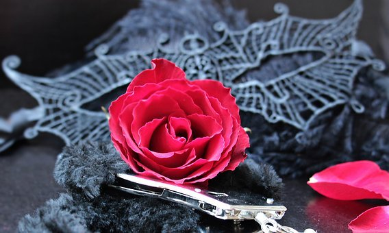 Mask, Handcuffs, Roses, Red Roses, Red, Black