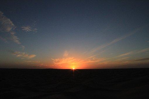Desert, Sunset, Tunisia, Nature, Landscape, Sand