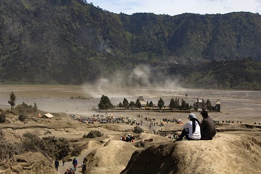 Bromo, People, Horse, Desert, Scenery, Crater, Volcano