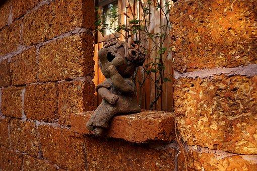 Wall, Sculpture, Brickwork, Terracotta Figurine