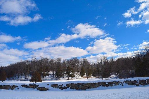 Snow, Field, Blue, Sky, Clouds, Daylight, Winter