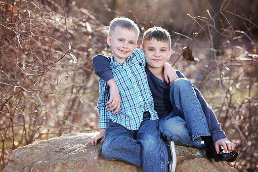 Brothers, Boys, Park, Childhood, Caucasian, Two, Child