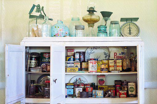 Retro, Vintage, Kitchen, Cupboard, Spices, Old, Antique
