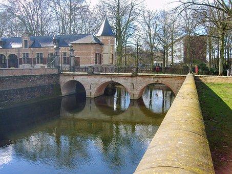 Water, Pond, Castle, Bridge, Ekeren, Antwerp