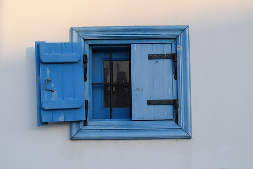 Window, Wooden, Blue, White, Wall, House, Old