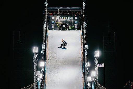 Ski Board, Boarding, Snow, Winter, Lights, Evening