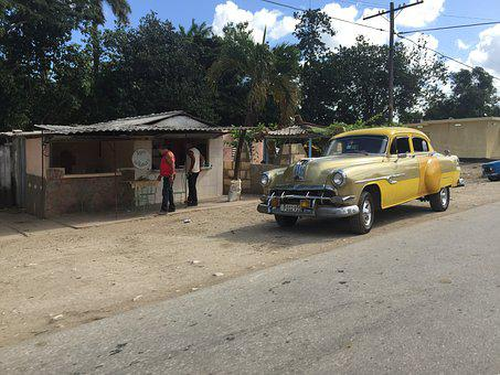 Yellow Vintage Car, Cuba, Old American Yellow Car