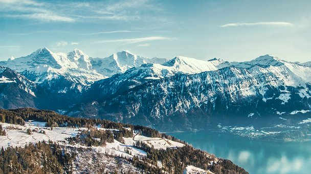 Mountains, Lake, Winter, Landscape, Alpine, Nature