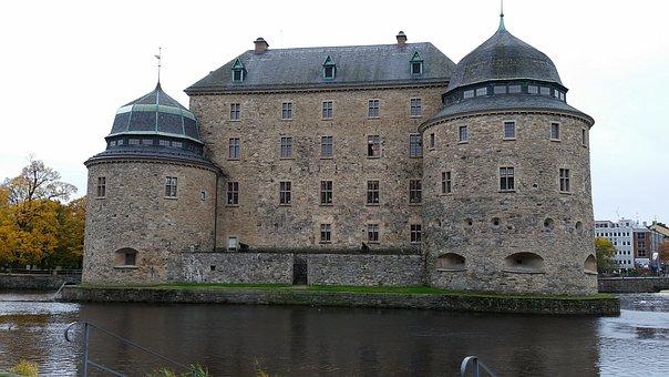 örebro, Castle, Park, Autumn, Svartån, Walk, Islet