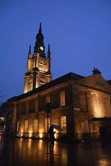 Church, Glasgow, Night, Scotland, Uk, Britain, Scottish