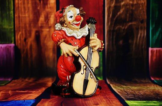 Clown, Figure, Funny, Music, Play, Cheerful