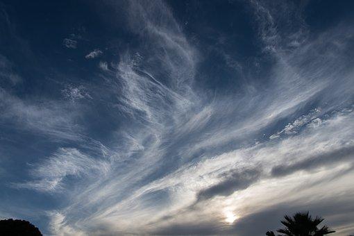 Clouds, White, Blue, Dramatic, Pattern, Streaks, Swirls