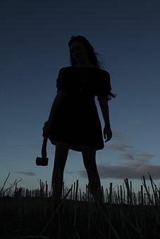 Axe, Murderer, Silhouette, Female, Dusk, Sunset, Dark