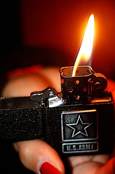 Zippo, Cigarette Lighter, Usa, Fire, Flames, Badge