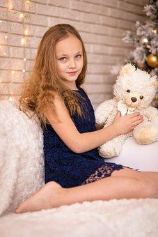 Girl, Toy, Bear, Child, Kid, Little, Happy, Childhood