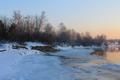Kitoy, Angarsk, Winter, Ice, River