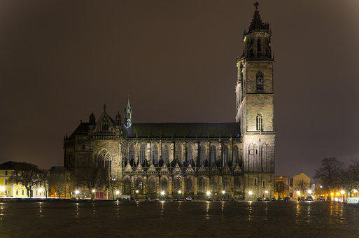 Magdeburger Dom, Dom, Church, Night, Illuminated
