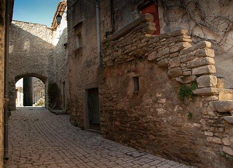 Herald, Medieval Village, Lane, Paved Street, Porch