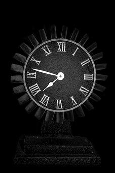 Clock, Engine, Old, Aircraft, Metal, Hard, Cold, Dark