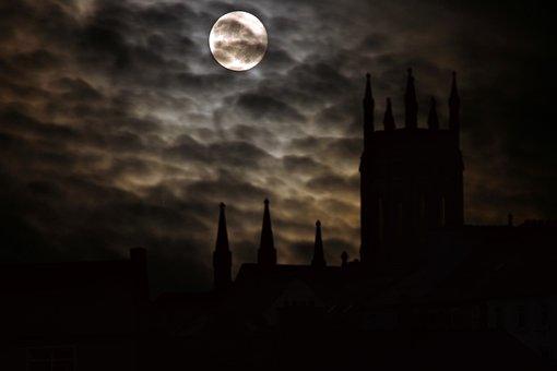 Full Moon, Silhouette, Castle, Night, Midnight