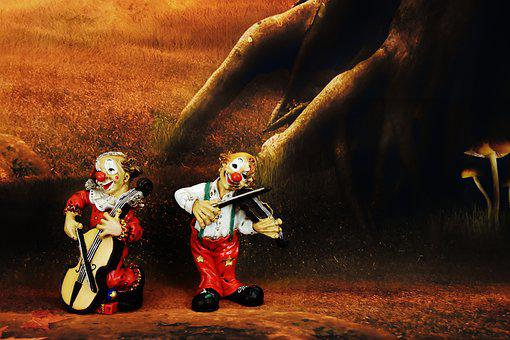Clowns, Funny, Music, Figures, Fun, Forest, Mood