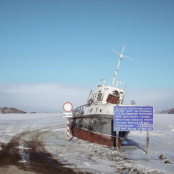 Ice, Boot, Winter, Cold, Ship, Landscape, Nature, Coast