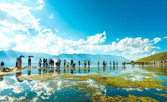 In Yunnan Province, Dali, Erhai Lake, People Swimming