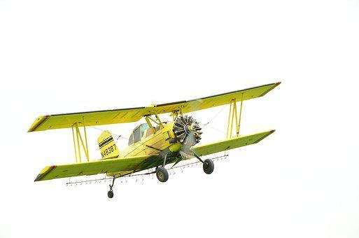 Bi-plane, Crop Duster, Yellow, Aircraft, Duster, Plane