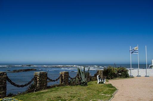 Uruguay, Montevideo, Lighthouse, Beach, Flag, Sea, Sky