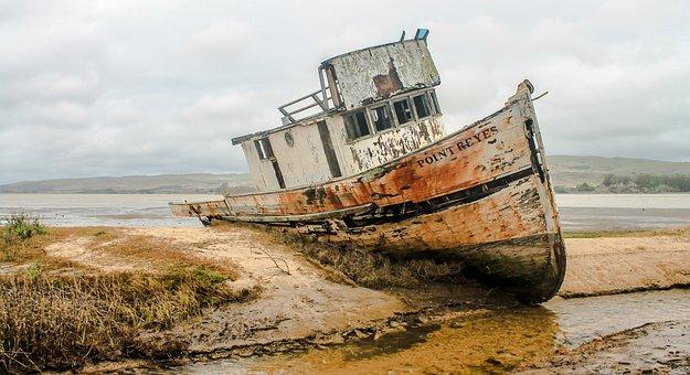 Shipwreck, Ship, Wreckage, California Bay, Ocean, Boat